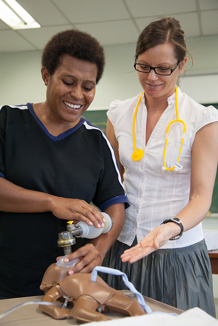 Australian Clinical Midwifery Facilitator Florence West teaches at Pacific Adventist University in PNG (image: Flickr/DFAT/Ness Kerton)