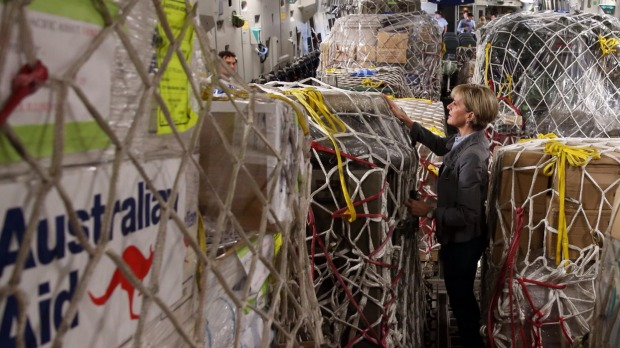 Foreign Affairs Minister Julie Bishop inspects Australian aid supplies (image: Andrew Meares)