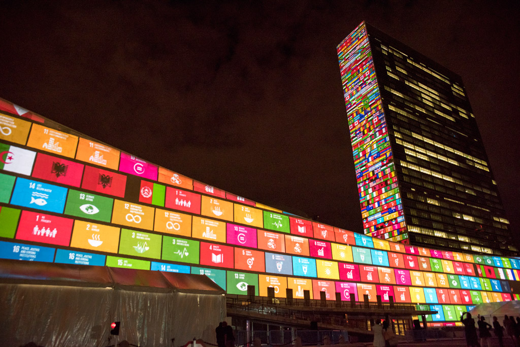 Ahead of the UN Sustainable Development Summit from 25-27 September, and to mark the 70th anniversary of the United Nations, a 10-minute film introducing the Sustainable Development Goals is projected onto UN Headquarters. UN Photo/Cia Pak