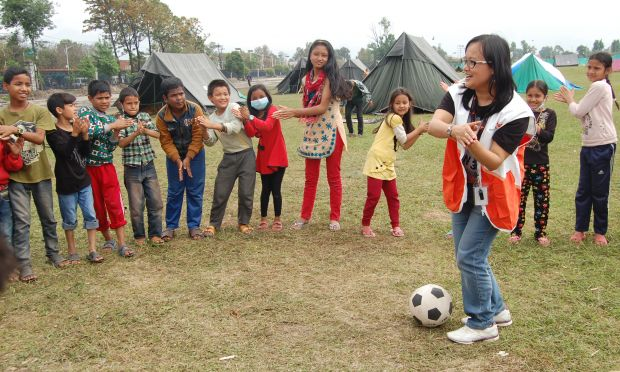 Activities in World Vision Child Friendly Space in Kathmandu, April 2015 (image: World Vision Australia)