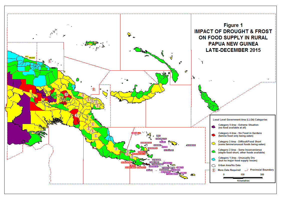 Figure 1: Impact of drought & frost on food supply in rural PNG, late December 2015