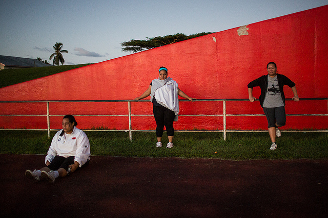 Early morning fitness program participants at Tonga's national stadium (Flickr/DFAT/Connor Ashleigh for AusAID CC BY 2.0)