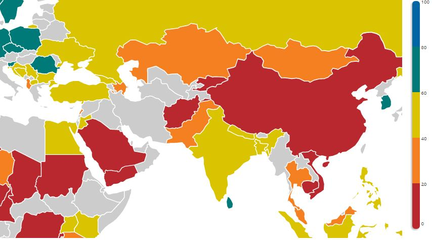 OBI scores map, 2008 (Open Budget Survey Data Explorer)