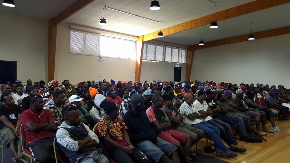 On-arrival briefing for Ni-Vanuatu seasonal workers in Koo Wee Rup, Victoria (Credit: Seasonal Workers Australia Facebook)