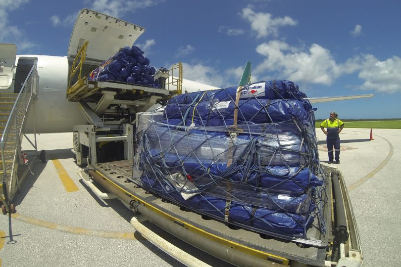 Emergency supplies in Tonga following Cyclone Ian (Louise Scott/DFAT/Flickr CC BY 2.0)