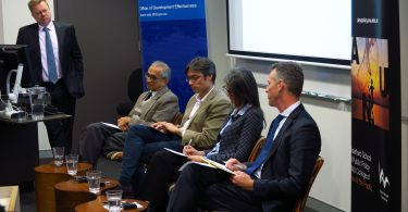 A panel at the August 2017 Australian Aid Evaluation Forum