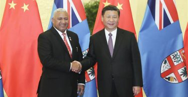 Chinese President Xi Jinping meets Fiji Prime Minister Frank Bainimarama (Ministry of Foreign Affairs of the People's Republic of China)