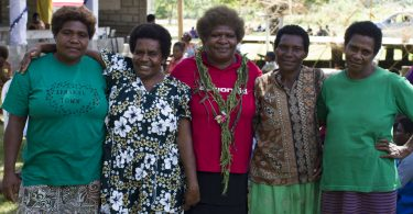 Mary Jack with women belonging to Women I Tok Tok Tugeta in Tanna, Vanuatu, in February 2018 (Credit: ActionAid)