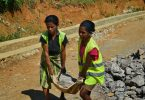 Women work on the Road for Development Programme in Timor-Leste; the improved road access for rural Timorese will hopefully bring economic benefits (ILO in Asia and the Pacific/Flickr/CC BY