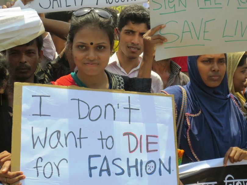 Workers and unions rallied on the one-year anniversary of the Rana Plaza collapse (Solidarity Center/Flickr/CC BY-ND 2.0)