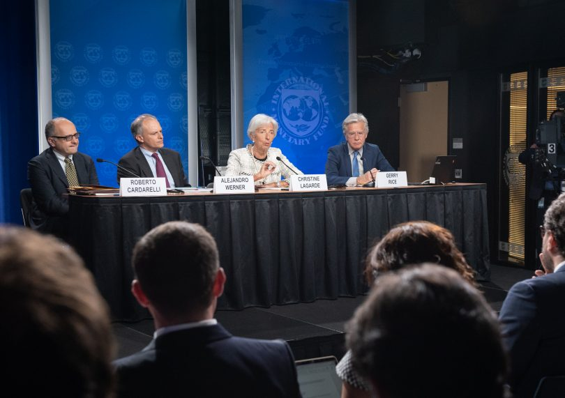 IMF staff deliver remarks to media regarding IMF's loan for Argentina in the form of a stand-by arrangement, 20 June 2018 (IMF/Flickr/CC BY-NC-ND 2.0)