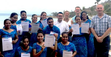 Kiribati graduates from Certificate III in Hospitality recognised on Hayman Island with staff from Mulpha Hotel, Hayman Island (Credit: Holly Lawton/Palladium)