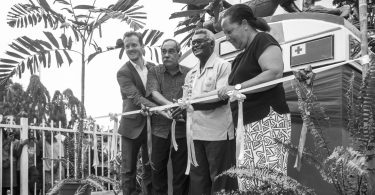 Unveiling of the RAMSI Monument at the Central Police Station cenotaph site, Honiara 2017 (Credit: Sean Davey)