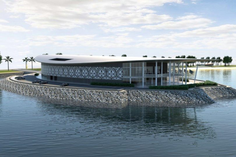An artist's impression of PNG's APEC Haus (Credit: Jim Fitzpatrick Architects)