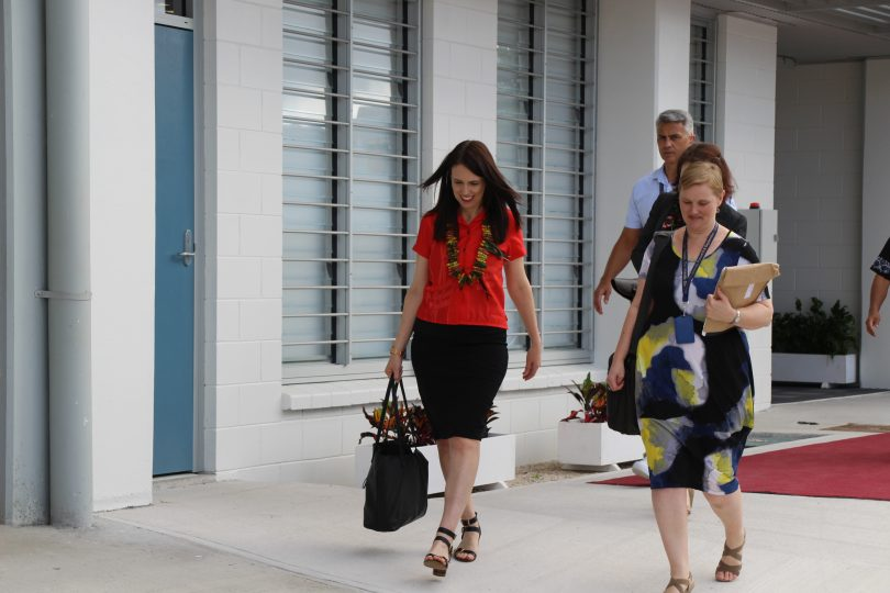 New Zealand Prime Minister Jacinda Ardern arrives at the 2018 Pacific Islands Forum meeting in Nauru (Credit: PIFS)