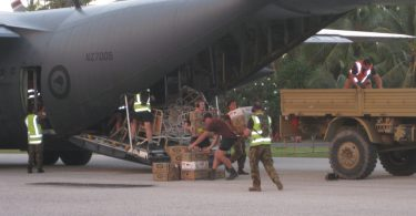 Unloading supplies as part of an exercise testing New Zealand's ability to respond to a natural disaster in the Pacific (Credit: New Zealand Ministry of Foreign Affairs and Trade)