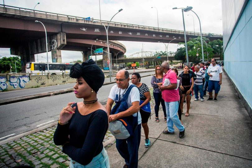 Brazilians lined up to cast their vote for president in October (Credit: Daniel Ramalho/Agence France-Presse/Getty Images)