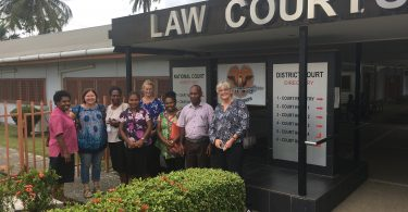 The research team with Femili PNG and Court staff outside the Lae District Court