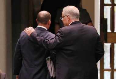 Australian PM (right) and Treasurer (left) (Credit: ABC News/Nick Haggarty)